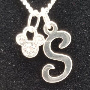 "Disney Mickey Initial ""S"" Silver Necklace"